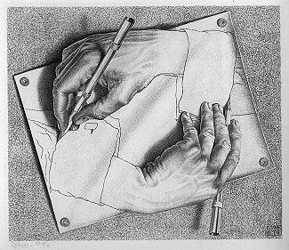 Drawing Hands.  Lithograph by M.C. Escher